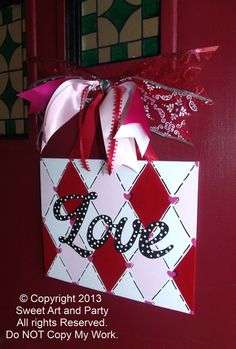 Items similar to Holiday Valentine Love Canvas red pink white black diamond harlequin door hanger sign hand painted painting art decor ornament gift on Etsy Tree Wall Painting, Painting For Kids, Diy Painting, Valentines Day Party, Valentines Day Decorations, Valentine Crafts, Wine And Canvas, Love Canvas, Canvas Ideas