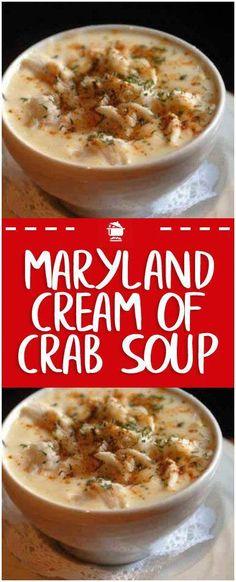 Maryland-Creme der Krabbensuppe – Hauptfamilien-Rezepte - seafood recipes for dinner Seafood Soup Recipes, Dinner Recipes, Canned Crab Recipes, Lump Crab Meat Recipes, She Crab Soup, Seafood Bisque, Shrimp Bisque, Shrimp Dip, Lobster Bisque
