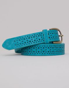 Pull&Bear - woman - accessories - belt with cut-out triangles and circles - turquoise - 05870301-V2015
