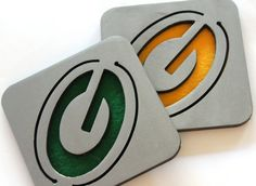 Green Bay Packers Coasters, Steel, Metal, Packers, Set of 4. Got these coasters with the flying WV!!