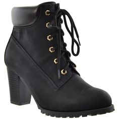 Womens Ankle Boots Lace Up Stacked Heel Ankle Padded Booties Black