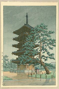 Kawase Hasui: Rain in Nara- The Kofuku Pagoda - Japanese Art Open Database
