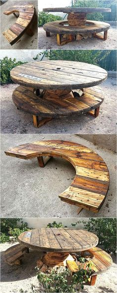 Recycled Pallets Cable Reel Patio Furniture Idea - All For Garden Pallet Patio Furniture, Reclaimed Wood Furniture, Recycled Furniture, Handmade Furniture, Pool Furniture, Furniture Ideas, Furniture Buyers, Furniture Websites, Inexpensive Furniture