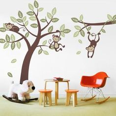 """The cute and cuddly monkeys will always put a smile on your child's face. Each monkey and leaf decals can be placed anywhere you wish. So be creative! Size: Tree Size (approx): 65"""" w x 90""""h Branch Siz"""