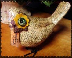 Vintage inspired birdie...mixed media art