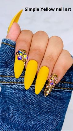 yellow nails design * yellow nails + yellow nails acrylic + yellow nails design + yellow nails short + yellow nails acrylic coffin + yellow nails coffin + yellow nails acrylic short + yellow nails with glitter Bright Summer Acrylic Nails, Best Acrylic Nails, Acrylic Nail Designs, Nail Art Designs, Yellow Nails Design, Yellow Nail Art, Royal Blue Nails Designs, Acrylic Nails Yellow, Pink Nail