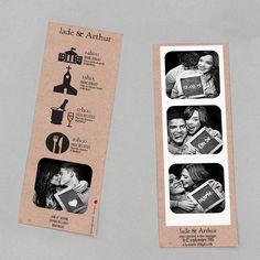Faire-part de mariage marque-page moderne et vintage. -Modern and vintage wedding invitation. -Invitación moderna en forma de marca-paginas.