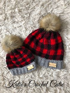20511d23d00 Crochet Buffalo Plaid Hats - Mommy And Me Set - Matching Hats Baby Boy  Winter Hats