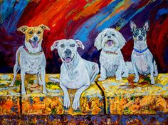 Perfect Family Original Oil Painting 24x18x1 by Manuel Lopez Fine Art #pet #oilpainting #painting #art #dogs #colorful #fineart #fauna #animals #wildlife #wild