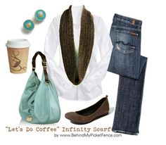 """""""Brown & Turquoise"""" by behindmypicketfence ❤ liked on Polyvore featuring Jessica Simpson, 7 For All Mankind, Old Navy, HOBO, jeans, hobo, white, brown, white button up and cozy"""