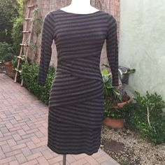 2X HP BAILEY 44 sexy striped dress Grey and brown & black stripes make this dress a classic.  Stretchy and soft fabric with layers flatters all curves.  Wear with black boots or heels. Throw on a jacket for the day and take it off for a nighttime sexy look.  This versatile dress is awesome. Anthropologie Dresses