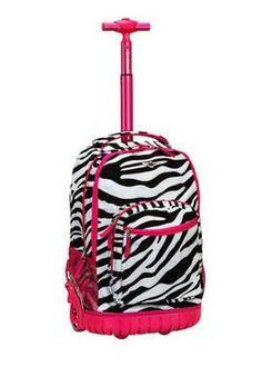 82ec64ea8a9c Rolling Backpack Rockland Sedan Pink Zebra Print School Bookbag Carry On  19in