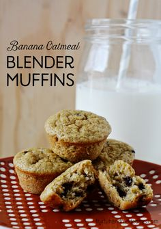 Simple and healthy banana oatmeal blender muffins.  Great recipe for breakfast!
