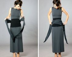 Obi Belt Black Steel Gray by MichalRomem on Etsy # Cintura Cincher, Cinto Obi, Ceinture Large, Obi Belt, Waist Cincher Corset, Jeans Bleu, Inspiration Mode, Japanese Outfits, Dress Picture