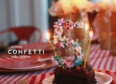 déco gâteau d'anniversaire : age fabriqué avec des confettis