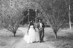 Walking through the woods at Great Fosters, Egham #wedding #blackandwhite