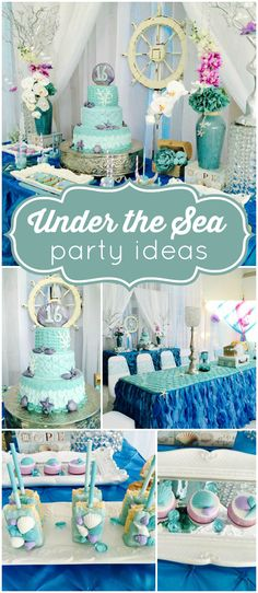 What a stunning under the sea themed Quinceanera! See more party ideas at CatchMyParty.com!