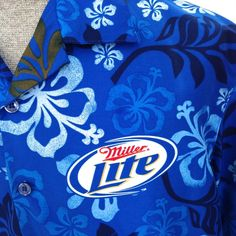Men's Miller Lite L Hawaiian Camp Shirt Beer Hibiscus Blue Floral 2009 #MillerLite #Hawaiian