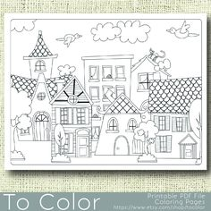 This printable coloring page features a scene of village housesand will be fun to color in a variety of ways