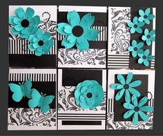 card kit set (These are in a gallery of past, sold out kits and are there for inspiration.) ... luv black and white with turquoise ,... stripes and flourishes  on the background papers  ... die cut glowers with black centers ... delightful cards! ...  Stampin' Up!