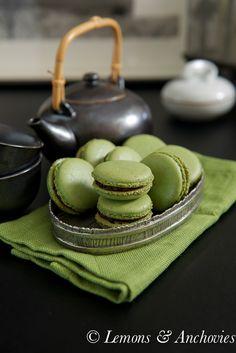Matcha Green Tea Macarons with Chocolate Ganache @Jean Pope | Lemons & Anchovies