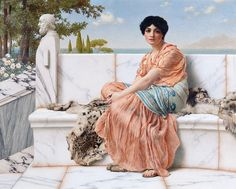 """""""In the Days of Sappho"""", 1904, by John William Godward (English, 1861-1922)"""