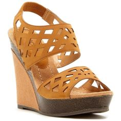 Bucco Serenas Wedge Sandal ($14) ❤ liked on Polyvore featuring shoes, sandals, tan, wedges shoes, platform sandals, slingback wedge sandals, wedge sandals and open toe wedge sandals