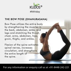 Bend back into the shape of a bow to feel energetically locked, loaded, and ready to take aim. All Body Workout, Fitness Workout For Women, Yoga Fitness, Yoga Facts, Yoga Information, Morning Yoga Flow, Stress Relief Meditation, Mudras, Good Health Tips