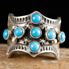 Sleeping Beauty turquoise and stamped sterling silver ring by Sunshine Reeves, Navajo