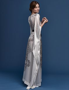 Meng SS15 luxury bridal loungewear - Cherry Blossom print silk satin kaftan - white