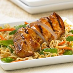 Asian Chicken Noodle Salad - Recipes - ReadySetEat..    Wish they would come out with a lower calorie Ramen noodle!!!