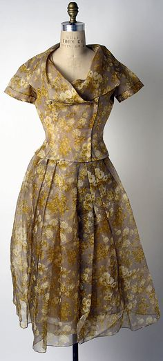 Cocktail Ensemble, Dior - 1954. Gift of Thelma Foy.  Oh, how I would love to have her wardrobe!