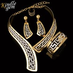 Cheap african beads jewelry set, Buy Quality dubai jewelry sets directly from China beaded jewelry set Suppliers: Kindlegem Exquisite Dubai Jewelry Set Luxury Gold Silver Color Big Nigerian Wedding African Beads Jewelry Set Costume Design