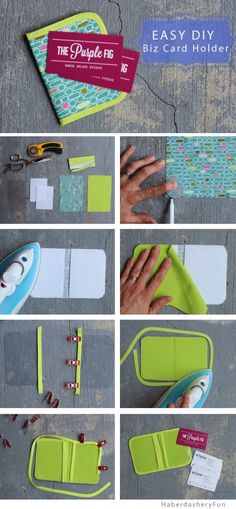 Make an easy fabric business card holder..