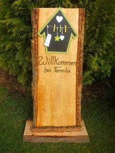 Mit diesem Schild wird jeder Gast,jeder Besuch freundlich empfangen... Eine hübsche natürliche Dekoration für den Eingangsbereich. Kleine Nachrichten können auf der Kreidetafel , an den...