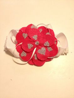 Infant Toddler Girls Hot Pink Hearts Flower Crochet Headpiece Hairpiece Hairbow Hair Accessories on Etsy, $10.00