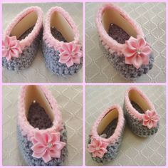 Crochet Handmade Baby Girl Booties-Any occasion 2 wide -pink  gray(0 -3 months) #Handmade #Booties