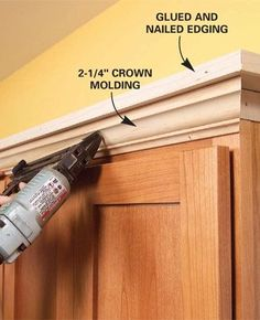 31 easy diy home upgrades to make your home look more expensive Above Kitchen Cabinets, Kitchen Redo, Kitchen Ideas, Kitchen Shelves, Diy Cabinets, Crown Moulding Kitchen Cabinets, Top Of Cabinets, Quality Cabinets, How To Install Kitchen Cabinets