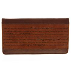 Strong  Courageous Brown Checkbook Cover  Price : $9.99 http://www.veritasgifts.com/Strong-Courageous-Brown-Checkbook-Cover/dp/B00A7FQZNO