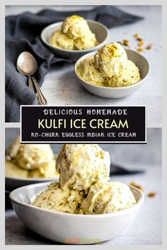 This Kulfi Ice Cream is an eggless, no-churn Indian flavored recipe perfumed with the essence of saffron, cardamom, rosewater and nuts, that's ready to chill in 10 minutes. #kulfi #icecream #spicecravings Frozen Desserts, Fun Desserts, Delicious Desserts, Yummy Food, Awesome Desserts, Kulfi Recipe, Gelato Recipe, Indian Beef Recipes, Goan Recipes
