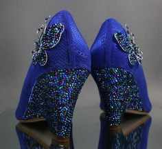 Wedding Shoes -- Royal Blue Wedge Wedding Shoes with Peacock Themed Rhinestone Covered Heel and Crystal Covered Butterflies