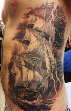 Tall Sailing Pirate Ship Tattoo On Ribs