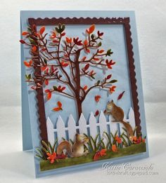 Reading Tree, Picket Fence, Grass Border, Squirrel Set, Rectangle 6-in-1 Frames