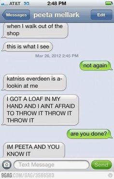 The Hunger Games Peeta & his bread...hahahah