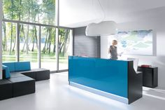 MDD Office Furniture is at Crave Furniture Calgary. Shop the Linea Reception Desk today! Contemporary furniture for a modern office. Modern Reception Desk, Reception Desk Design, Reception Counter, Office Reception, Lobby Reception, Reception Areas, Buy Furniture Online, Furniture Deals, Office Furniture