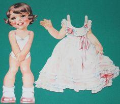 Bilderbücher-Ilse Wende-Lungershausen-Dressing doll  Eva  Edition around 1950, 2 hard cardboard parts: the figure Eva of the length 22 cm with corresponding summer dress.
