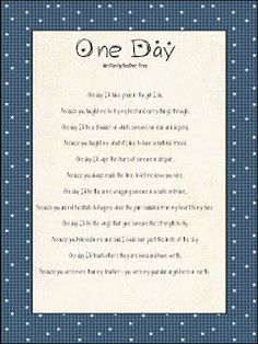 Amazing poem to attach to a teacher& end of school year, gift.