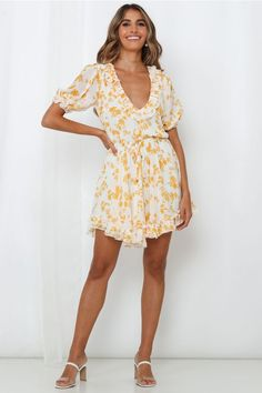 New Arrivals of the Latest Fashion Yellow Print, Chiffon Fabric, Day Dresses, Fit And Flare, Hemline, Cold Shoulder Dress, Dressing, Rompers, Romper