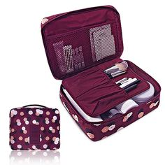 Pockettrip Clear Cosmetic Makeup Bag Toiletry Travel Kit Organizer New 2015 With 1 pc Pockettrip Luggage Tag (Flower in Wine Red)