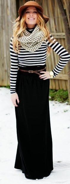 Ladies black and white combo striped styles adorable long dress inspiration
